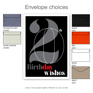 20th birthday wishes card black typography for him or her bth105a envelope choices