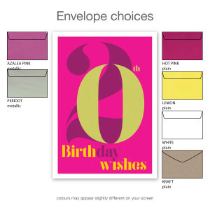 20th birthday wishes card for her pink typography bth105c envelope choices