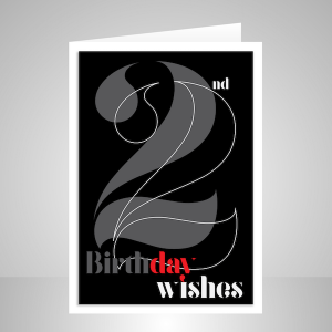 22nd birthday wishes for her or him black typography bth107a display