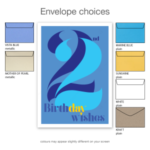 22nd birthday wishes for him blue typography bth107b envelope choices