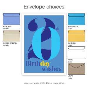 20th birthday wishes card blue typography bth105b envelope choices