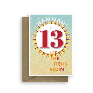 13th birthday card edit name for her him let the teens begin bth226 card