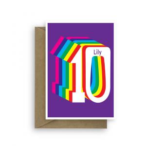 10th birthday card edit name rainbow bth225 card