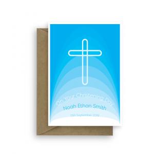 christening card boy edit name gradient blue cross cht015c card
