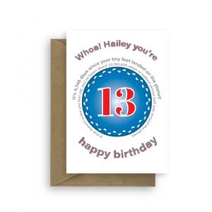 funny 13th birthday card edit name for boy or girl feet bth228 card