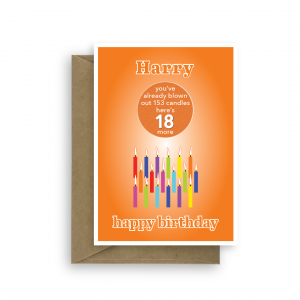 funny 18th birthday card edit name for boy or girl candles bth249 card