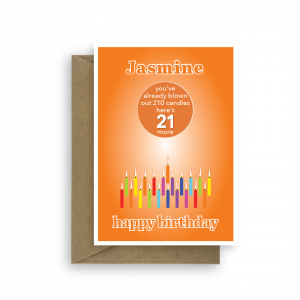 funny 21st birthday card edit name for boy or girl candles bth252 card