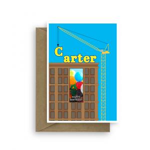 birthday card for him edit name construction crane bth268 card