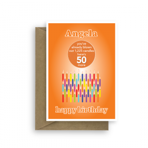funny 50th birthday card edit name for boy or girl candles bth255 card