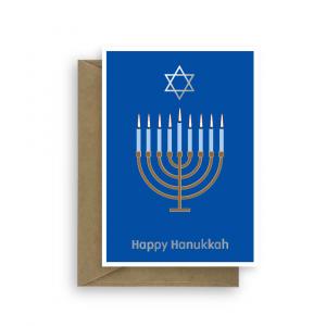 hanukkah card menorah candles david star han001 card