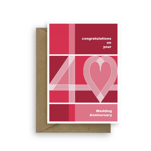 40th wedding anniversary card ruby heart ann007 card