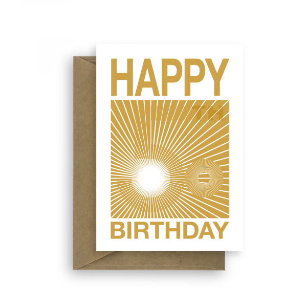 50th birthday card golden optical illusion for him her bth099 card