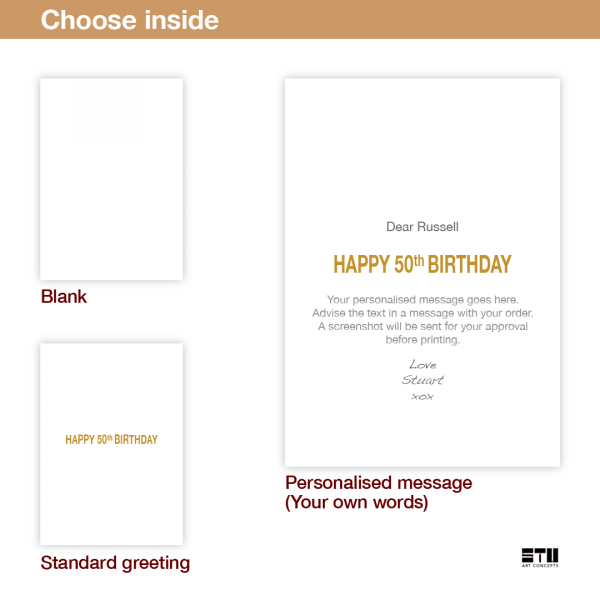 50th birthday card golden optical illusion for him her bth099 inside