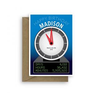 11th birthday card edit name funny clock bth319 2020 card