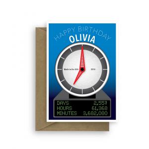 7th birthday card edit name funny clock bth315 2020 card