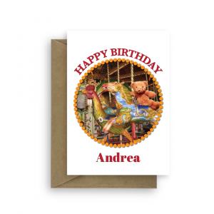 birthday card merry go round edit name circle bth118 card