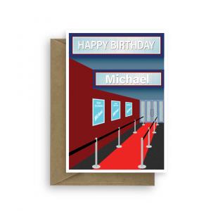 birthday card edit age name for him blue bth323 card