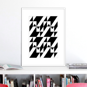 black and white stairs illusion print stuartconcepts p0028 white frame_NO 1