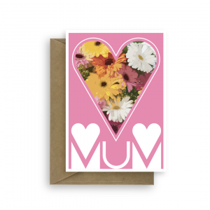 mothers day card mum flowers heart mth009 card