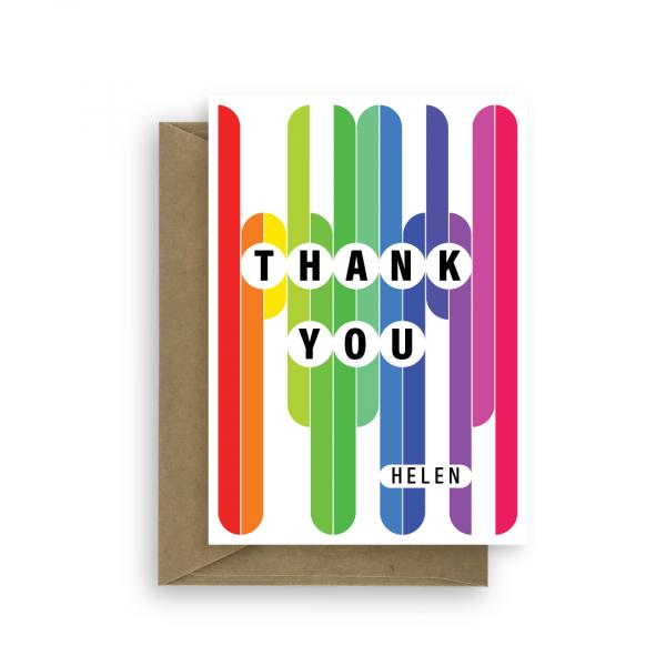 thank you card edit name rainbow thk008 card