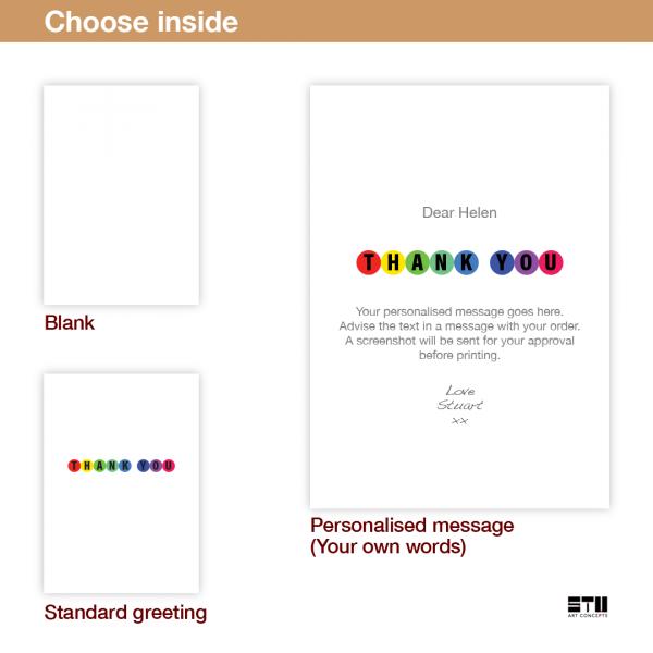 thank you card edit name rainbow thk008 inside