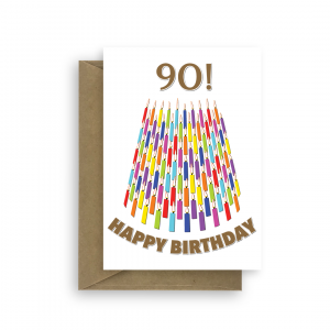 90 candles birthday card for him or her bth276 card