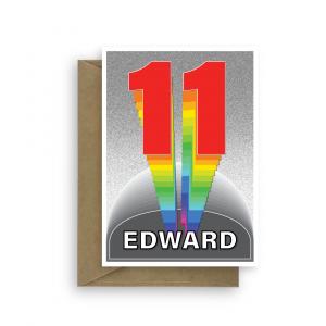 11th birthday card boy girl rainbow tower bth366 card