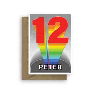 12th birthday card boy girl rainbow tower bth367 card