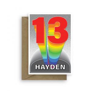 13th birthday card boy girl rainbow tower bth368 card
