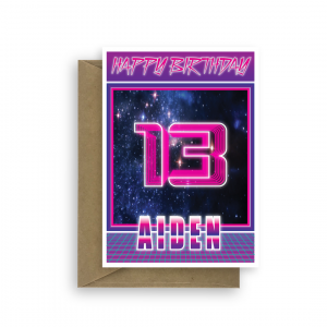 13th birthday card for boy synthwave bth344 card