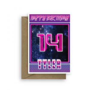 14th birthday card for boy synthwave bth345 card