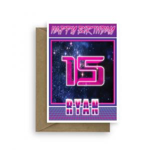 15th birthday card for boy synthwave bth346 card