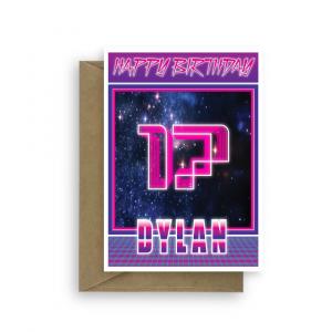 17th birthday card for boy synthwave bth348 card
