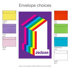 1st birthday invitation for boy girl rainbow inv001 envelope choices