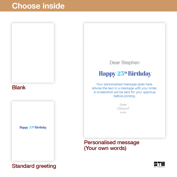 25th birthday wishes card blue yellow bth364 inside