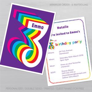 3rd birthday invitation boy girl rainbow inv003 display new