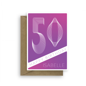 50th birthday card for her edit name purple blend bth382 card