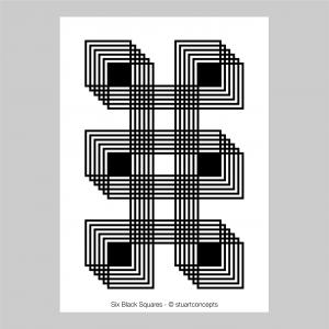 six black squares optical illusion stuartconcepts print p0025 artwork
