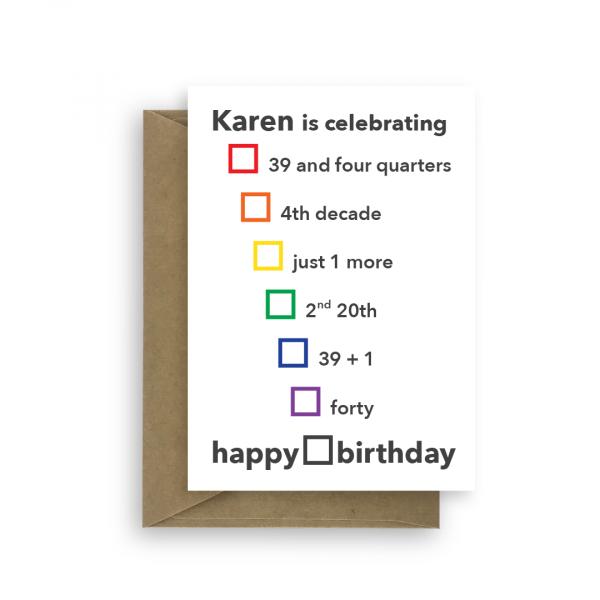 40th birthday card for her edit name choices bth390 card
