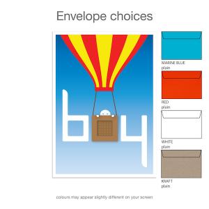 Baby shower invitation boy balloon inv023 envelope choices