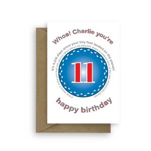 funny 11th birthday card edit name for boy or girl feet bth400 card