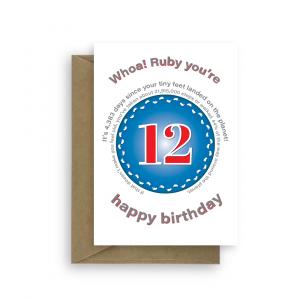 funny 12th birthday card edit name for boy or girl feet bth401 card