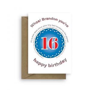 funny 16th birthday card edit name for boy or girl feet bth397 card