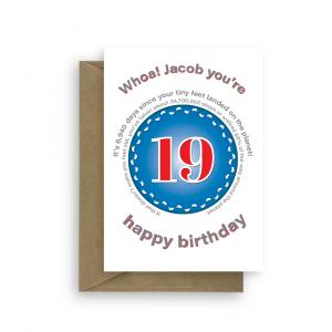 funny 19th birthday card edit name for boy or girl feet bth399 card