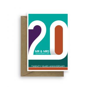 20th wedding anniversary card infographics ann029 card