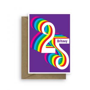 25th birthday card for her him rainbow bth410 card