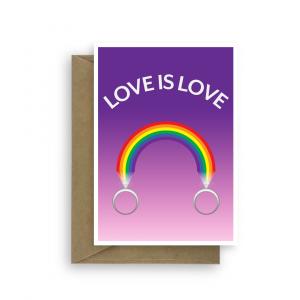 lesbian wedding card rainbow rings wed026 card