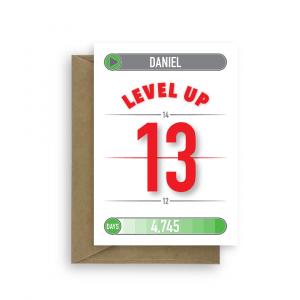 13th birthday card for boy or girl level up bth439 card