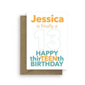 13th birthday card finally a teen bth465 card