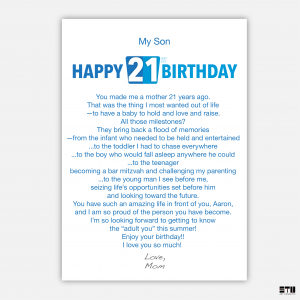 bth450 Aaron's card inside - personalised text